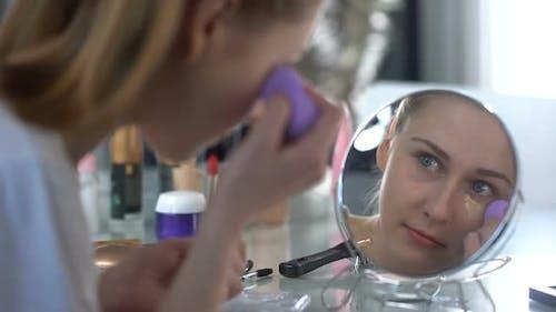 Lady Skillfully Applying Face Foundation, Morning Makeup, Facial Skin Care