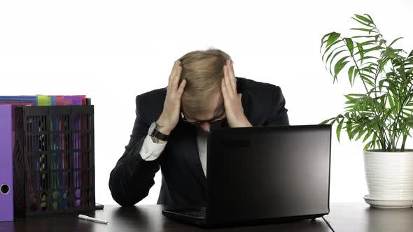 Thumbnail for Businessman Manager Playing Game on Laptop. Losing Sitting Down in Frustration