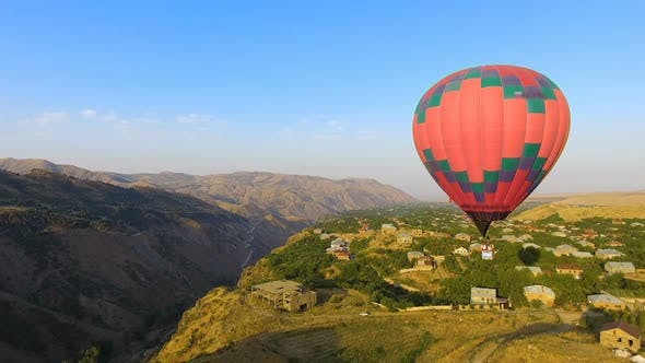 Thumbnail for Hot Air Balloon Flying Over Beautiful Armenian Halidzor Village and Mountains