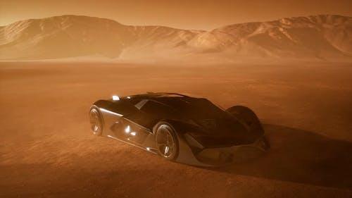 Supercar at Sunset in Desert