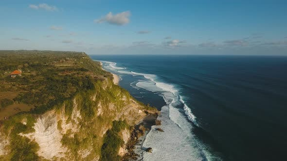 Cover Image for Rocky Coastline on the Island of Bali. Aerial View