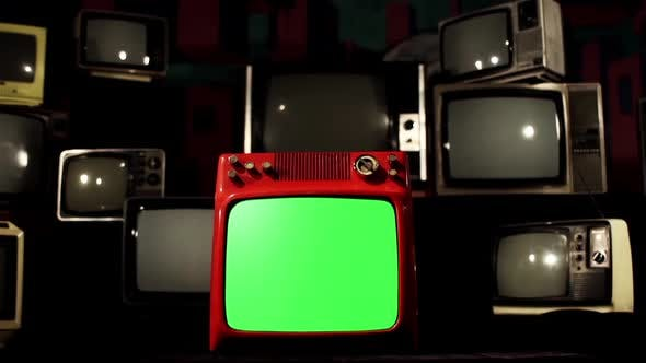 Thumbnail for Old Red Tv With Green Screen in the Middle of Many Tvs Fading to Black. Aesthetics of the 80s.
