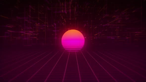 Thumbnail for Synthwave Wireframe Net and Stars 80s