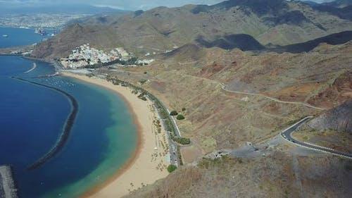 Tenerife Playa de Las Teresitas Beach Aerial View