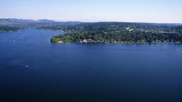 Thumbnail for Lake Washington Sunny Day Real Estate Background Aerial