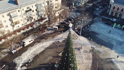 Christmas Tree in the Center of Poltava Ukraine