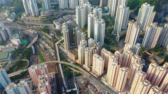 Thumbnail for Drone fly over Hong Kong city