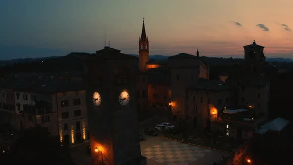 Castelvetro Italian mountains Hamlet after the sunset in the night