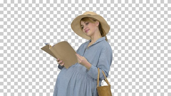 Thumbnail for Pregnant woman in a summer hat reading magazine, Alpha Channel