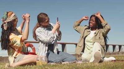 Girls Filming their Friend Dancing on Camera