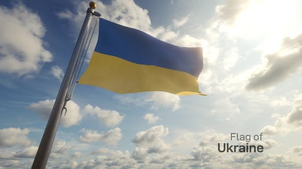 Ukraine Flag on a Flagpole