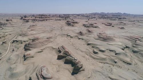 Aerial View of Sandy Rocks Desert in the World Town of Demons of Karamay, Xinjiang, China