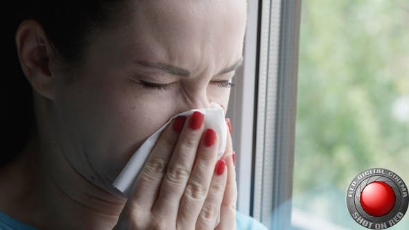 Thumbnail for Woman Sneezing Into A Napkin Standing By The Window
