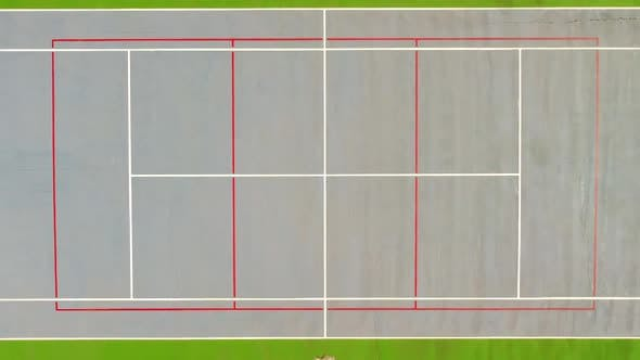 Tennis Court Top Down Aerial View Zoom Out