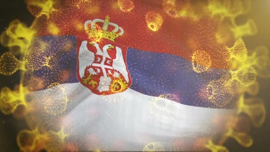 Serbia Flag With Coronavirus Microbe Centered