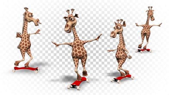Thumbnail for Giraffe 3D Character - Cartoon Skateboard (4 Pack)