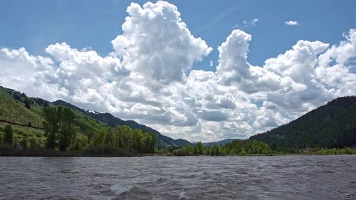 Snake river flowing on beautiful day in Wyoming