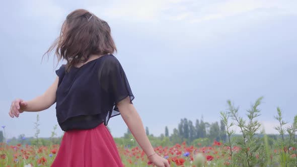 Cover Image for Pretty Young Woman Running and Dancing in a Poppy Field Smiling Happily