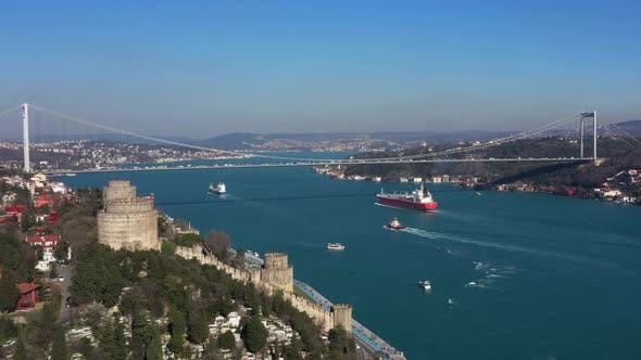 Thumbnail for Istanbul Bebek Bosphorus Bridge Rumeli Fortress Aerial View