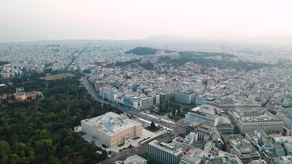 Thumbnail for Cityscape of Athens at Sunset with the Acropolis. Aerial View.