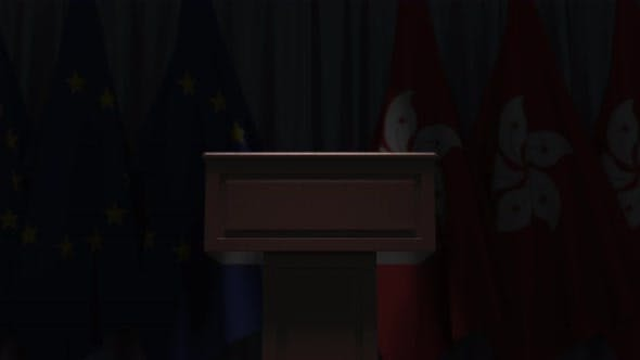 Row of Flags of Hong Kong and the European Union