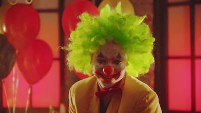 A Crazy Man Clown Laughing