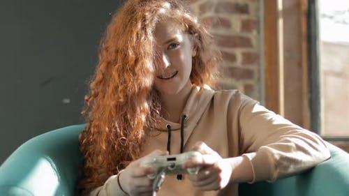 Girl Gamer Playing Video Game