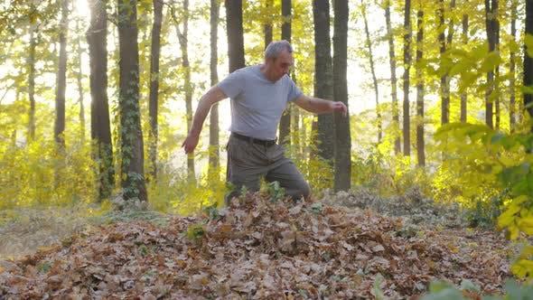 Großvater mit Enkel werfen vergilbte Blätter. Gesunde Kinder und Eltern haben Spaß im Freien