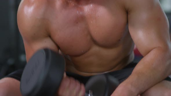 Thumbnail for Muscular Man Performing Dumbbell Curl