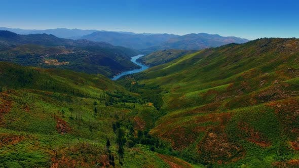 Thumbnail for Aerial Panorama of Sunny Valley Scenery