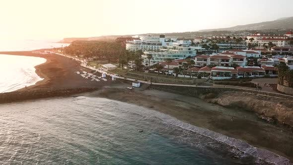 Top View Over Los Cristianos at Sunset Canary Islands Tenerife Spain