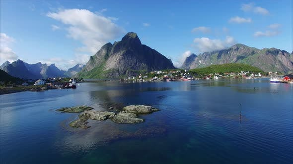 Thumbnail for Flight above fjord in Reine, Lofoten islands, Norway