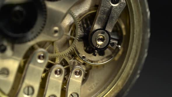 Thumbnail for Old Golden Clock Mechanism Working. Close Up