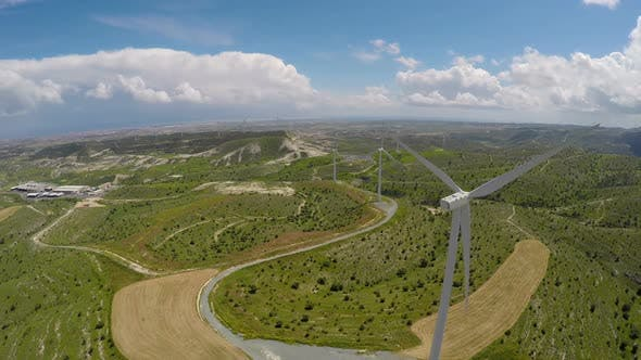 Thumbnail for Renewable Alternative Energy Generation in Cyprus, Aerial View of Windmill Farm