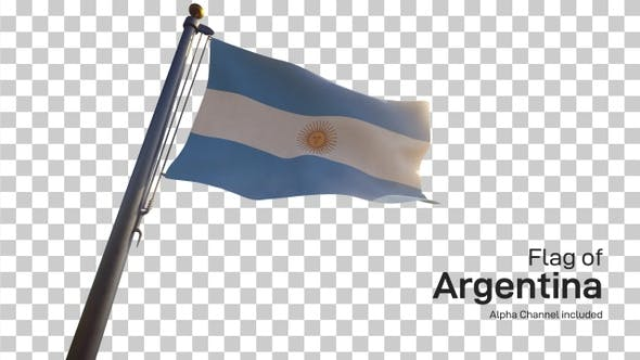 Thumbnail for Argentina Flag on a Flagpole with Alpha-Channel