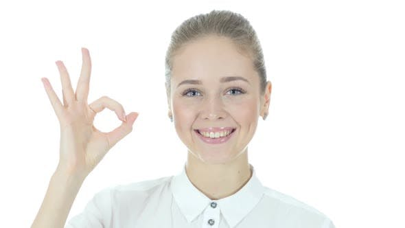 Thumbnail for Businesswoman Showing Ok Sign, White Background