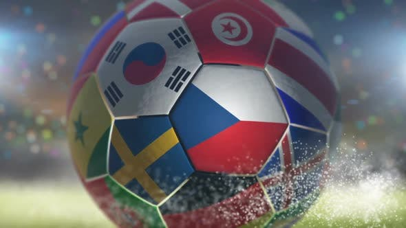 Thumbnail for Czech Republic Flag on a Soccer Ball - Football in Stadium
