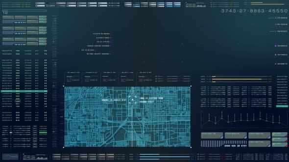 Thumbnail for Futuristic HUD Holographic Digital City Map
