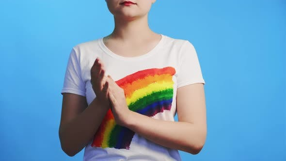 Lgbt Solidarity Gay Respect Proud Woman Applauding