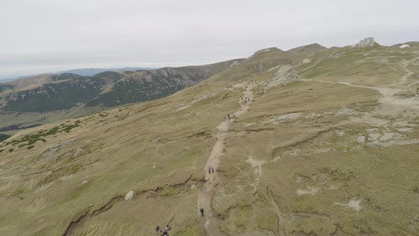 Aerial view of Bucegi Plateau in Romania