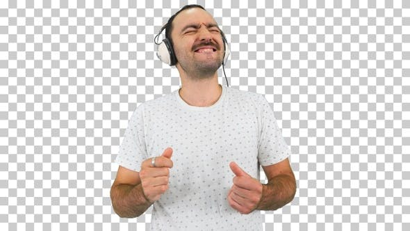 Happy guy with mustache listening to the, Alpha Channel