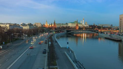 Russia. Moscow Kremlin on sunset.