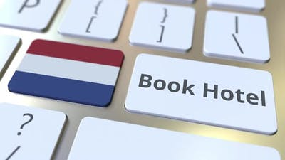 BOOK HOTEL Text and Flag of the Netherlands on the Buttons
