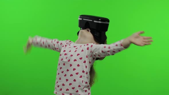 Thumbnail for Child Girl Using VR Headset Helmet To Play Game, Watching Virtual Reality 3d 360 Video, Chroma Key