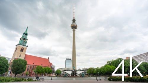 Timelapse of berlin city skyline on a cloudy day.