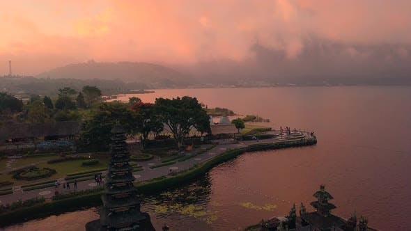 Aerial View of Pura Ulun Danu Bratan at Sunset