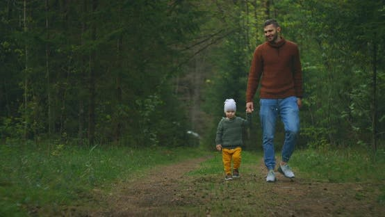 Thumbnail for A Young Father and Son Walk in the Park Holding Hands, A Man and a Boy Walk in a Pine Forest