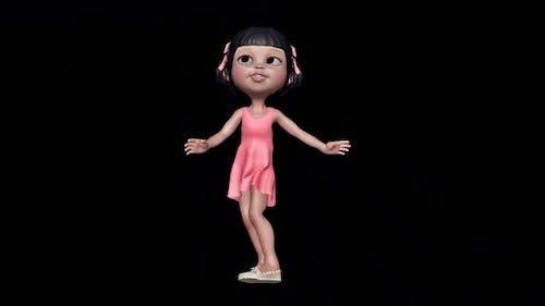 3d Little Girl Dance Loop On Alpha Channel