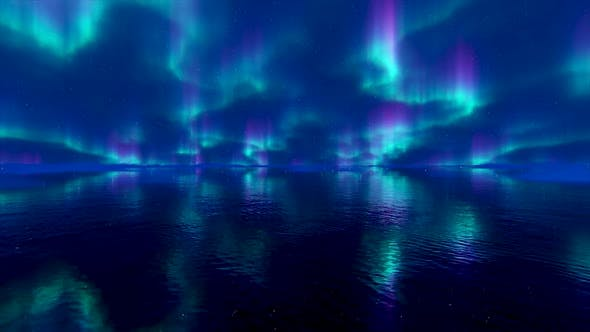 Northern Lights Reflection on the Water