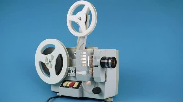 Ending Film On Retro Cinema Projector.